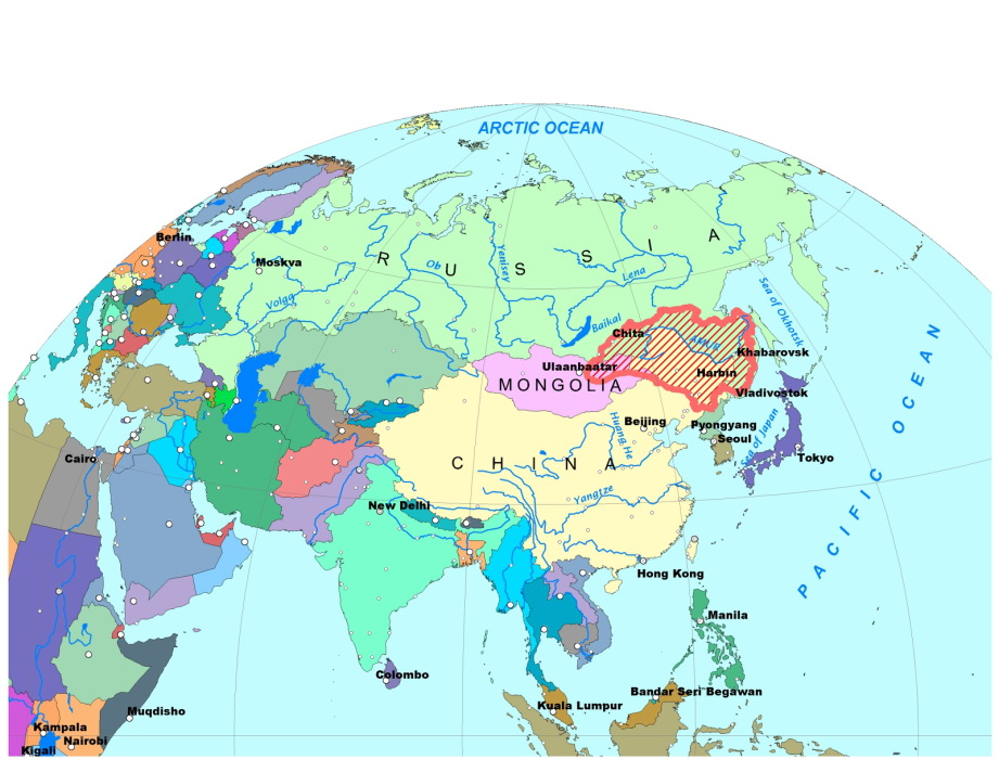 Amur River basin on the map of the World